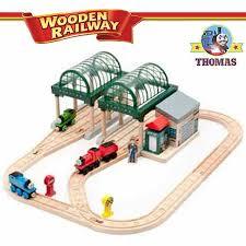 talking thomas and friends wooden railway train set at knapford station thomas james and percy tank