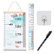 Kids Growth Chart Wood Frame Fabric Canvas Height