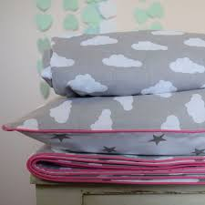100 cotton cot bed duvet cover set girls grey stars clouds pink piping