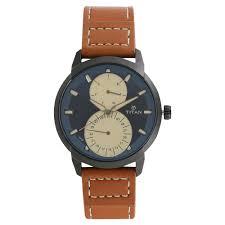 titan blue dial brown leather strap men s watch 1756nl01 a jpg