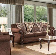 formal living room furniture. Formal Living Room Furniture 3p Set Brown Fabric Leatherette Sofa Loveseat Chair