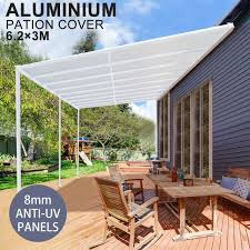 diy 8mm anti uv panels pergola kit outdoor patio deck cover roof 6 2 x 3m verandah