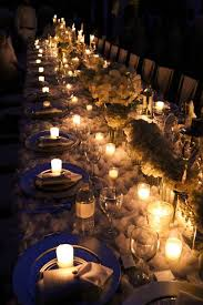 Lit-up Dining Table from an Elegant White Outdoor Dinner Party via Kara's  Party Ideas