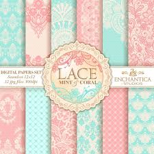 Mint and coral Color Palette Image Etsy Lace Digital Paper Digital Paper Lace Mint Digital Paper Etsy