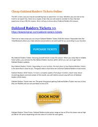 Cheap Oakland Raiders Tickets Online By Ticket Original Issuu