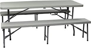 Office Star Resin 3-Piece Folding Bench and Table ... - Amazon.com