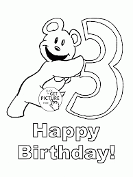 Happy 3rd Birthday Coloring Page For