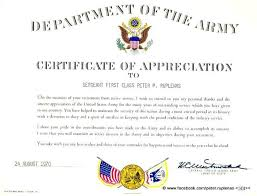 Military Certificate Of Appreciation Template Gorgeous Army Certificate Of Appreciation Colbroco