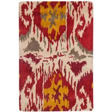 ikat ivory red 2 ft x 3 ft area rug