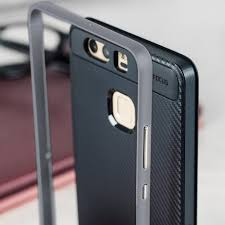 huawei p9 grey. bumper frame huawei p9 case with carbon fibre design - grey