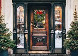 Door Vinyl Design Fox Rolled Retro Christmas Front Door Vinyl Backdrop
