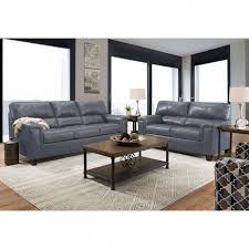 picture of asher grey leather sofa and loveseat