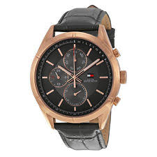 tommy hilfiger men s wristwatches tommy hilfiger black leather strap mens watch 1791125