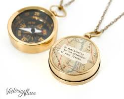 Compass Quotes Impressive Working Compass Necklace With Vintage Map And Thoreau Or
