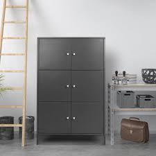 Ikayaa Moderne 6 Tür Boden Schrank Metallschränke Locker