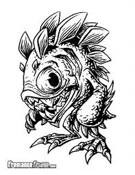 monster creature drawings. Beautiful Monster Murloc Fish Humanoid Monster Creature Concept Cartoon Black And White Adult  Coloring Page Drawing Illustration In Drawings