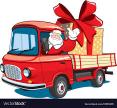 on red truck delivers gifts vector image