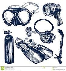 Dive Tank Light Scuba Diving Equipment Sketch Set Stock Vector