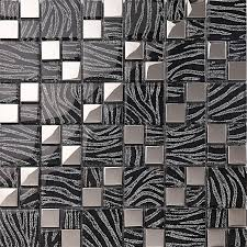 silver with black crystal glass mosaic tiles plated glass kitchen wall design backsplashes kqyt044