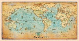 sea monster world map. Brilliant Monster World Political Antique Style Wall Map By Compart For Sea Monster A