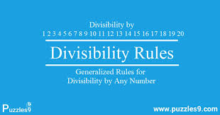 Math Divisibility Rules Chart Math Division Rules For Numbers 1 20 Simple Tricks To