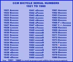 Bicycle Serial Number Chart Vintage Ccm Forum 1960s And 1970s Serial Numbers