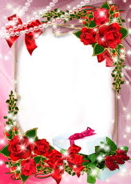 Beautiful Pink Transparent Photo Frame with Roses and Gift