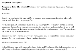 How Would You Describe Customer Service Solved Assignment Description Assignment Title The Effec