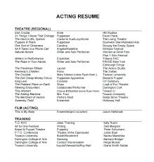 Actors Resume Template Word Acting Resume Template For Free Beginner ...