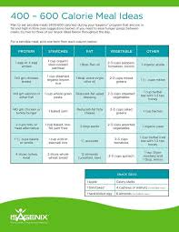Isagenix Meal Chart 400 600 Calorie Meal Ideas To Go With Your Isagenix Meal