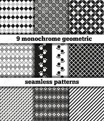 ブラック ホワイト白黒の幾何学模様の生地の 9 つのサンプルのセットですシームレスなテクスチャです使
