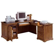 Elegant L-shaped Wooden Computer Desk With File Drawers And Storage  Organizer