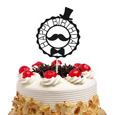 <b>Cake Toppers Flags Glitter</b> Moustache Hat Kids Happy Birthday ...