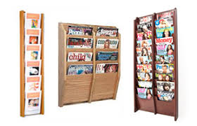 office magazine racks.  Magazine Wooden Wall Magazine Racks With Solid And Clear Pockets In Office S
