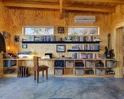 saveemail industrial home office. Modern Office Cabin Designs With Decorative Wall Mounted Bookshelves And Storage Using Rattan Basket Design Saveemail Industrial Home