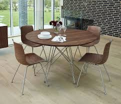 mid century modern large round dining table with caran modern round 5 piece dining table set