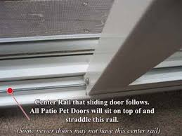 ilration of center guide rail in a sliding glass door