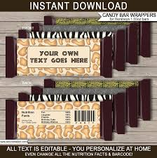 hershey candy bar wrapper safari hershey candy bar wrappers zoo party chocolate bar labels