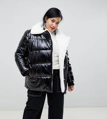 cur air plus high shine padded jacket with faux fur lining