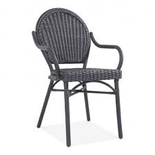 Seymour Outdoor Dining Armchair Black Rattan