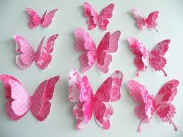 3d Butterfly Wall Decor Amusing 3d Design Pink Butterfly Paper Wall Art Decor Ideas Paper