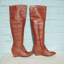 bronx brown leather boots size uk 5 eur 38 womens y thigh high pull on wedge