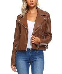 all gone dark caramel leather biker jacket women