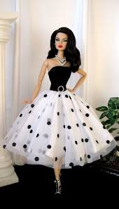 fashion doll in white polkha dots more barbie doll