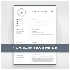 Resume Template With Monogram 1 2 Page Resume Modern Design Logo Marketing Cv Word And Mac Pages Instant Download Veronica