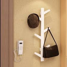 white bamboo tree shape wall hanging coat hanger rack scarf hat storage hook