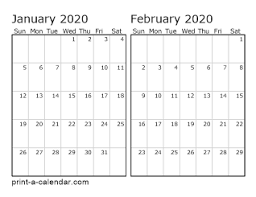 Calendar Template Monthly 2020 Download 2020 Printable Calendars