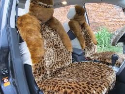 name winter fleece leopard auto seat cushion warm plush car seat covers brown
