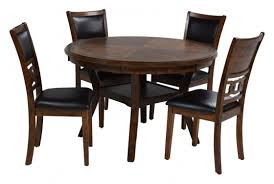 gia round table with 4 chairs in light brown media image 1