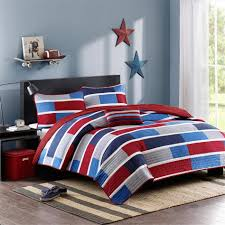 ... Red Navy Blue Striped Teen Boy Bedding Twin Xl Fullqueen Quilt Red Set  Americana Masculine Design ...